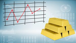Gold bars and graph of price changes
